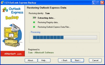 123 Outlook Express Backup 1.74 screenshot