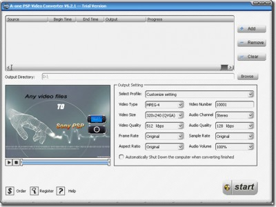 A-one PSP Video Convertor 6.9.14 screenshot