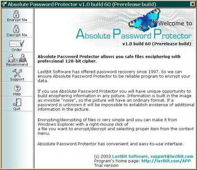 Absolute Password Protector 1.0.547 screenshot