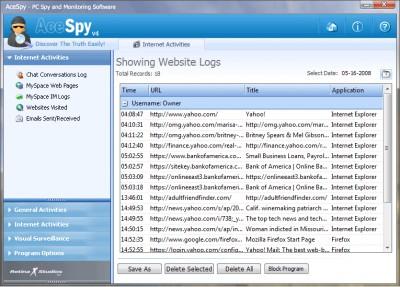 AceSpy Spy Software 3.31 screenshot