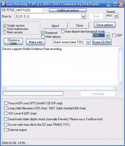 Easy Burning 2.03a screenshot