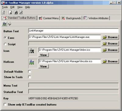 IE Toolbar Manager 1.1 screenshot