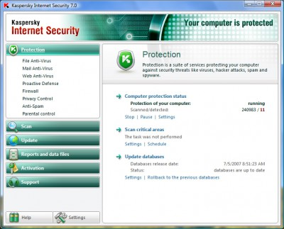 Kaspersky Internet Security 6.0.2.621 screenshot