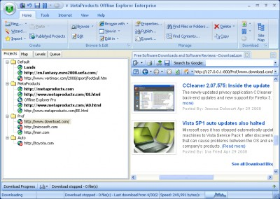 Offline Explorer Enterprise 7.5 screenshot
