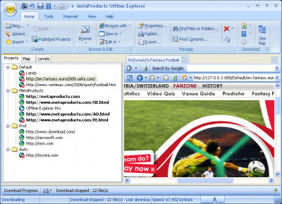 Offline Explorer 7.5 screenshot